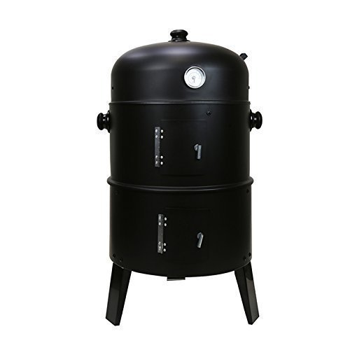 First4Spares 3 in 1 Round Charcoal BBQ Grill & Smoker