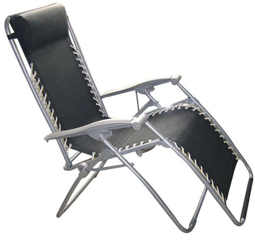 Kingfisher FSGC Gravity Garden Reclining Sun Lounger - Black