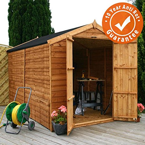 10ft x 6ft Overlap Apex Wooden Windowless Storage Shed - Brand New 10x6 Wood Sheds