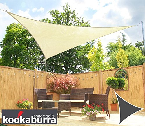 Kookaburra Water Resistant Sun Sail Shade Canopy 3.6m Triangle in Ivory