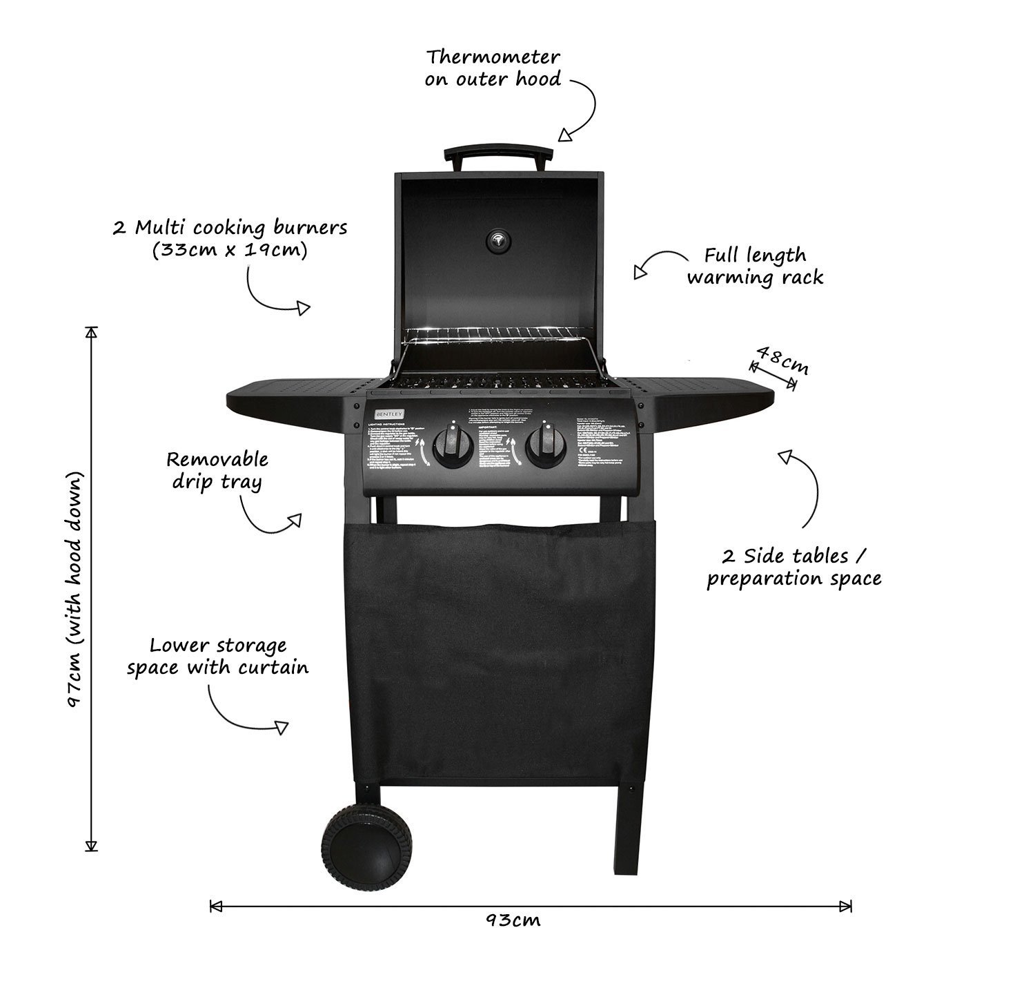 Charles Bentley Deluxe 2 Burner Gas Bbq Steel Barbecue In Black