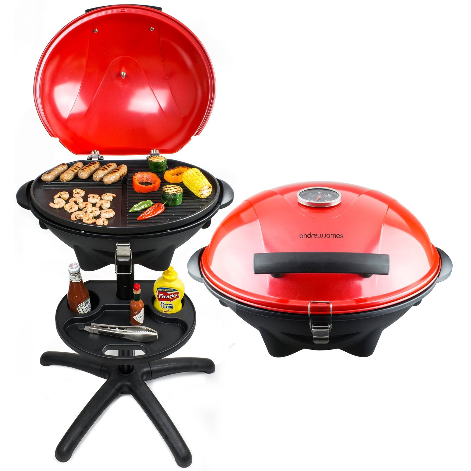 Andrew James Red Electric BBQ Grill With Built In Thermometer