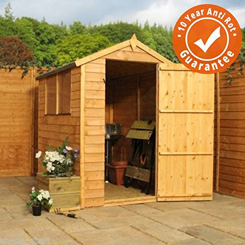 6x4 Overlap Wooden Shed w/Apex Roof & Felt