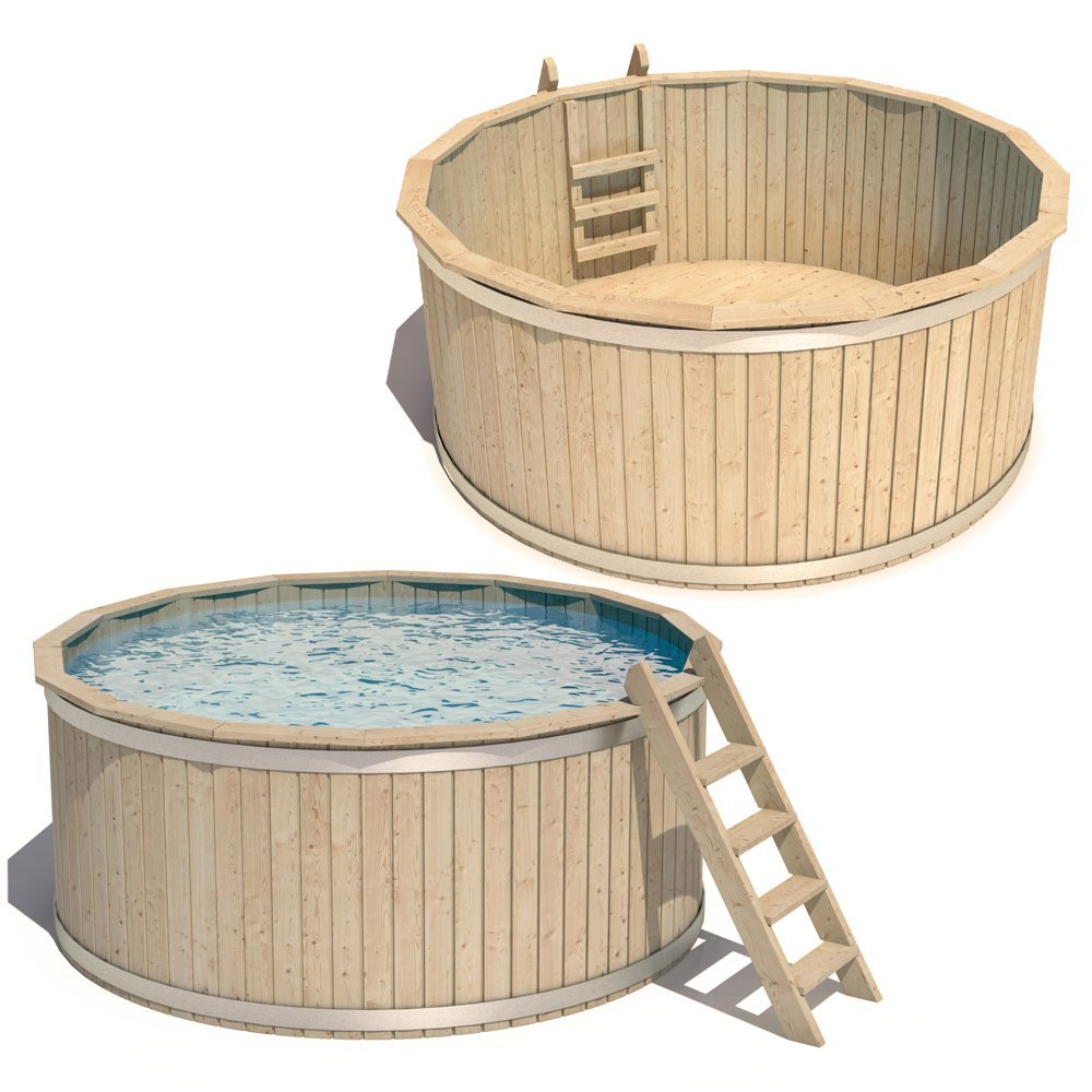 ISIDOR Wooden Pool Wood Swimming Bathing Circular Round Tub Entry + Exit ladder