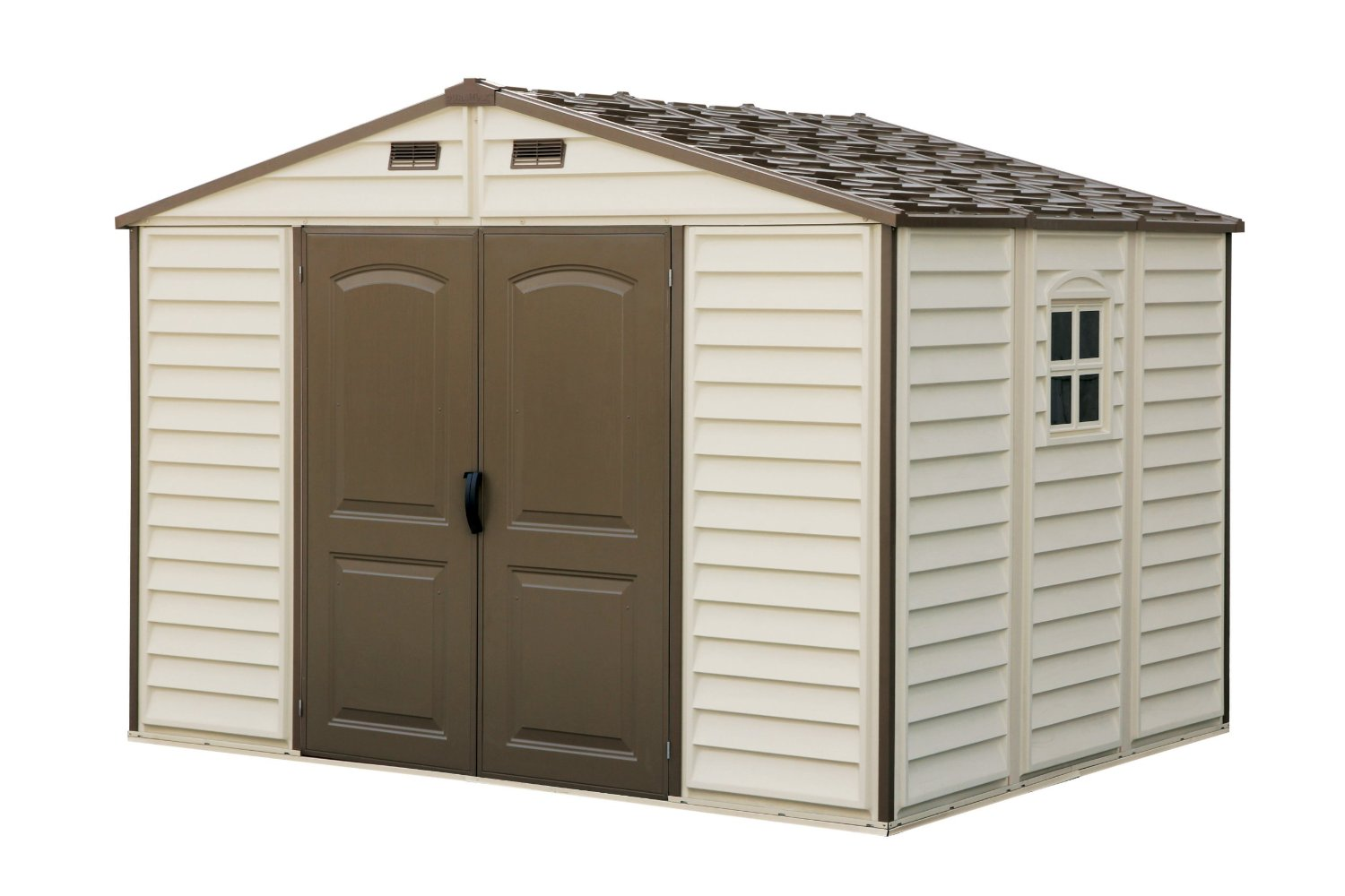 Woodside 10 x 8 Vinyl Storage shed with Foundation and three fixed windows